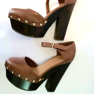 Boho Brown Platform Heels with Studs